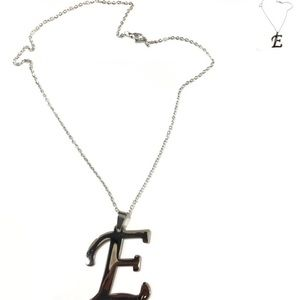 Jewelry - 10 Inch Shiny Silver E Pendant with Dainty Chain